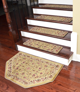 "Dean Premium Carpet Stair Treads - Classic Keshan Gold 31"" W (Set of 15) Plus a Matching Landing Hearth Mat 27"" x 39"" (2x3)"