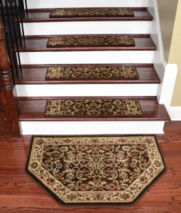 "Dean Premium Carpet Stair Treads - Classic Keshan Chocolate Brown 31"" W (Set of 15) Plus a Matching Landing Hearth Mat 27"" x 39"" (2x3)"