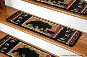 "Dean Non-Slip Pet Friendly Carpet Stair Step Cover Treads - Black Bear 31""W (15) Lodge Cabin Style Rugs"
