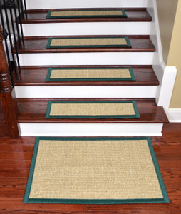 "Dean Desert/Cactus Green Non-Slip Tape Free Pet Friendly Stair Gripper Natural Fiber Sisal Carpet Stair Treads -  29""W Set of 15 Plus a Matching 2' x 3' Landing Mat"