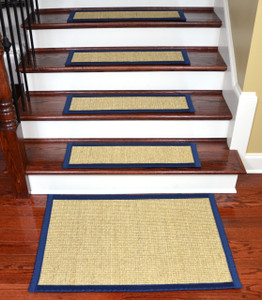 "Dean Desert/Navy Blue Non-Slip Tape Free Pet Friendly Stair Gripper Natural Fiber Sisal Carpet Stair Treads -  29""W Set of 15 Plus a Matching 2' x 3' Landing Mat"