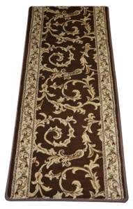 Dean Brown Scrollwork II Premium Carpet Rug Hallway Runner 26 Inches Wide by 5 Feet Long