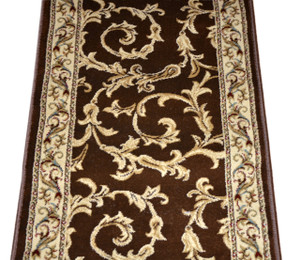 Dean Brown Scrollwork II Carpet Rug Hallway Stair Runner - Purchase in Custom Lengths by the Linear Foot
