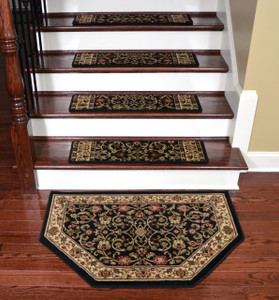 "Dean Tape Free Pet Friendly Non-skid Stair Gripper Premium Carpet Stair Treads - Classic Keshan Ebony 31"" W (Set of 15) Plus a Matching Landing Hearth Mat 27"" x 39"" (2x3)"