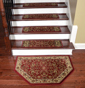 "Dean Tape Free Pet Friendly Non-skid Stair Gripper Premium Carpet Stair Treads - Classic Keshan Claret Red 31"" W (Set of 15) Plus a Matching Landing Hearth Mat 27"" x 39"" (2x3)"