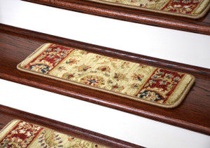 Dean Premium Super Soft Nylon Carpet Stair Treads/Runner Rugs - Renaissance Antique - Set of 15