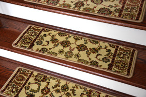 "Dean Non-Slip Tape Free Pet Friendly Stair Gripper Carpet Stair Treads - Elegant Keshan Antique Beige 31""W (15)"