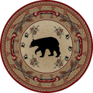 "Dean Black and Red Bear Lodge Cabin Bear Carpet Area Rug Size: 7'10"" Round"
