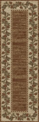 Dean Mountain View Brown Lodge Cabin Pine Cone Carpet