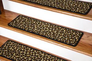 "Dean Premium Non-Slip Pet Friendly Carpet Stair Treads/Runner Rugs - Animal Print Leopard 30"" x 9"" (15)"
