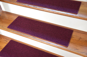 "Dean DIY Carpet Stair Treads 27"" x 9"" - Burgundy - Set of 13 - Plus Double-Sided Tape"