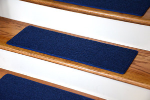 "Dean DIY Carpet Stair Treads 27"" x 9"" - Navy Blue - Set of 13 Plus Double-Sided Tape"