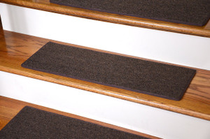 "Dean DIY Carpet Stair Treads 27"" x 9"" - Brown - Set of 13 Plus Double-Sided Tape"