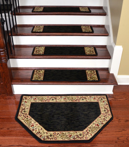 "Dean Tape Free Pet Friendly Non-skid Stair Gripper Ultra Premium Carpet Stair Treads - Talas Floral Black 31"" W (Set of 15) Plus a Matching Landing Hearth Mat 27"" x 39"" (2x3)"