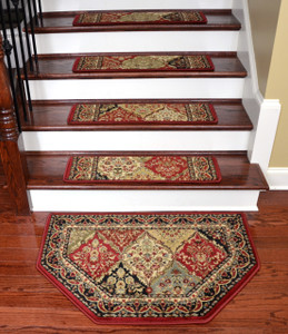 "Dean Tape Free Pet Friendly Non-skid Stair Gripper Ultra Premium Carpet Stair Treads - Panel Kerman Claret 31"" W (Set of 15) Plus a Matching Landing Hearth Mat 27"" x 39"" (2x3)"