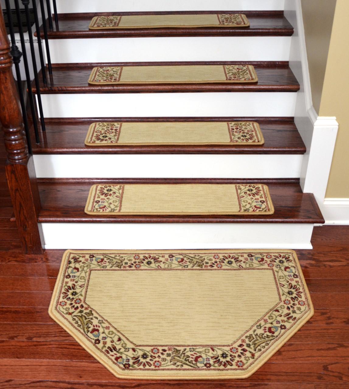 Dean Talas Floral Beige Stair Treads Mat Set Of 15