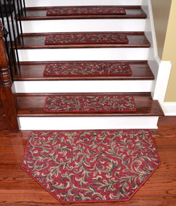 "Dean Tape Free Pet Friendly Non-skid Stair Gripper Ultra Premium Carpet Stair Treads - Acanthus Red 30"" W (Set of 15) Plus a Matching Landing Hearth Mat 27"" x 39"" (2x3)"