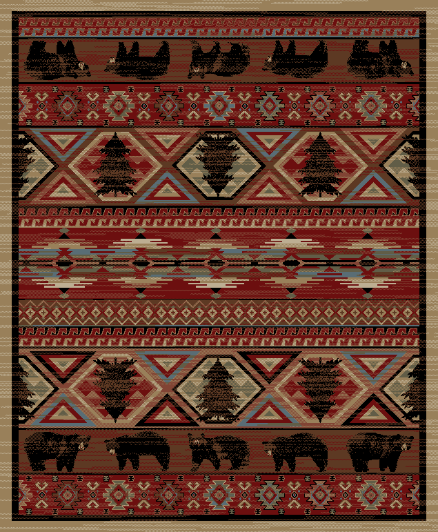 Dean Lodge King Red Pine Rustic Area Rug 5 3 X 7 3