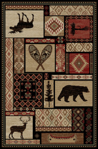 """Dean Lodge King Patchwork Multi Rustic Western Lodge Bear Cabin Ranch Area Rug Size: 5'3"""" x 7'3"""""""