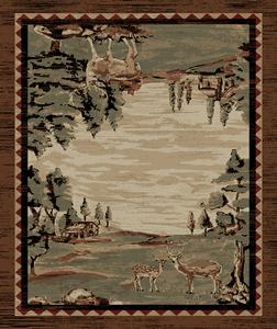 "Dean Lodge King Wildwood Brown Rustic Western Lodge Deer Cabin Ranch Area Rug Size: 5'3"" x 7'3"""