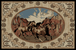 """Dean Lodge King Great Escape Rustic Western Horse Lodge Cabin Ranch Area Rug Size: 5'3"""" x 7'3"""""""