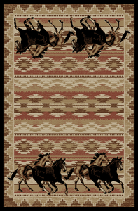 """Dean Lodge King Untamed Horses Rustic Western Lodge Cabin Ranch Area Rug Size: 5'3"""" x 7'3"""""""