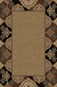"""Dean Lodge King Tapestry Black Rustic Western Lodge Cabin Ranch Area Rug Size: 5'3"""" x 7'3"""""""