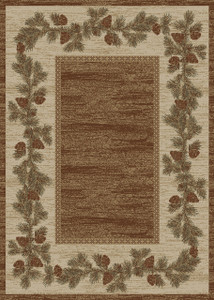 """Dean Mountain View Rustic Pine Cone Lodge Cabin Ranch Area Rug Size: 7'10"""" x 9'10"""""""