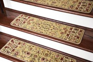 """Dean Premium Carpet Stair Treads - Classic Keshan Gold 31""""W (13)"""