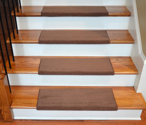 Dean Premium Pet Friendly Tape and Adhesive Free Non-Slip Stainmaster Nylon Bullnose Carpet Stair Treads - Odette Point Mantle Brown (3)