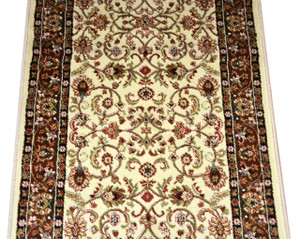Dean Classic Keshan Ivory Mocha Custom Length Carpet Rug Runner - Purchase by the Linear Foot