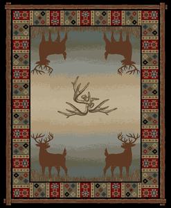"Dean Open Range Rustic Western Lodge Deer Cabin Ranch Area Rug Size: 7'10"" x 9'10"""