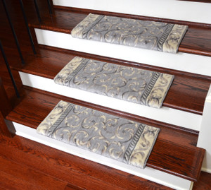 "Dean Non-Slip Tape Free Pet Friendly Stair Gripper Bullnose Carpet Stair Treads - Silver Scrollwork 27""W (3)"