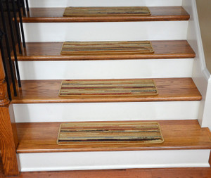 "Dean Non-Slip Tape Free Pet Friendly Premium Carpet Stair Treads - Striation Stripes Beige 26"" x 9"" (Set of 15)"