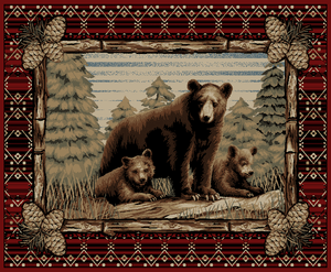 """Dean Lodge King Grizzly Gap Rustic Western Lodge Bear Cabin Ranch Area Rug Size: 5'3"""" x 7'3"""""""