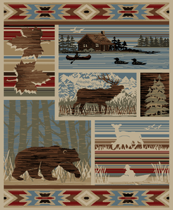 """Dean Maple Valley Rustic Western Lodge Bear Moose Nature Cabin Area Rug Size: 5'3"""" x 7'3"""""""