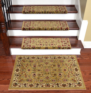 "Dean Non-Slip Tape Free Pet Friendly Stair Gripper Bullnose Carpet Stair Treads - Classic Keshan Gold 31""W (15) Plus a Matching 27"" x 39"" Landing Mat (1)"