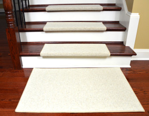 Dean Premium Pet Friendly Tape and Adhesive Free Non-Slip Bullnose Wool Carpet Stair Treads - Shetland Ivory (15) Plus a Matching 2' x 3' Landing Mat