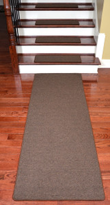 Dean Washable Non-Slip Carpet Stair Treads - Urban Legend Brown - Set of 15 Pieces, 27 Inches by 9 Inches Each Plus a Matching 6 Foot Landing Runner