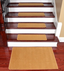 Dean Washable Non-Slip Nylon Carpet Stair Treads - Gold Coast - Set of 15 Pieces, 27 Inches by 9 Inches Each Plus a Matching 2 Foot by 3 Foot Landing Mat