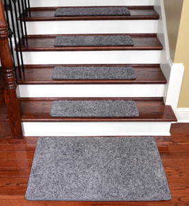 Dean Washable Non-Slip Carpet Stair Treads - Eiffel Tower Gray - Set of 15 Pieces, 27 Inches by 9 Inches Each Plus a Matching 2 Foot by 3 Foot Landing Mat