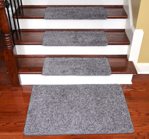 Dean Modern DIY Peel and Stick Bullnose Wraparound Non-Skid Carpet Stair Treads - Eiffel Tower Gray 30 Inches Wide(15) Plus a Matching 2 Foot by 3 Foot Landing Mat