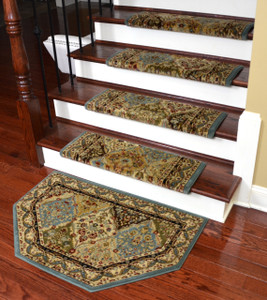 "Dean Non-Slip Tape Free Pet Friendly Stair Gripper Bullnose Carpet Stair Treads - Panel Kerman Cloude 31""W (15) Plus a Matching 27"" x 39"" Landing Hearth Mat"