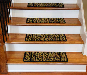 Dean Non-Slip Tape Free Pet Friendly Premium Carpet Stair Treads - Cheetah 15 Pack