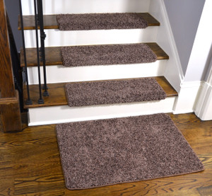 Dean Modern DIY Peel and Stick Bullnose Wraparound Non-Skid Carpet Stair Treads - Fresh Coffee Brown 30 Inches Wide (15) Plus a Matching 2 Foot by 3 Foot Landing Mat