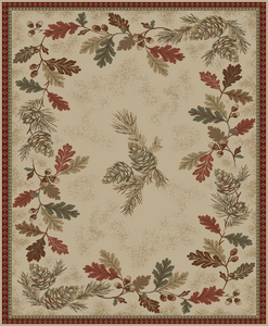 "Dean Oak Mountain Pine Cone Lodge Cabin Rustic Area Rug Size: 7'10"" x 9'10"" (8x10)"