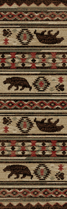 "Dean Fort Mountain Lodge Cabin Bear Western Ranch Runner Rug 2'3"" x 7'7"""