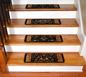 "Dean Premium Super Soft Nylon Carpet Stair Treads/Runner Rugs - Renaissance Black - Set of 15 - 20"" x 8"""