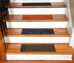 "Dean Affordable DIY Non-Skid Peel and Stick Carpet Stair Treads (Set of 13) 23"" x 8"" - Color: Mosaic"