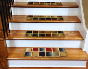 Premium Carpet Stair Treads - Checkerboard 13 Pack